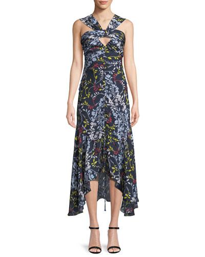 Sancia Ruched Vine-Print Midi Dress
