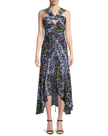 Tanya Taylor Sancia Ruched Vine-Print Midi Dress