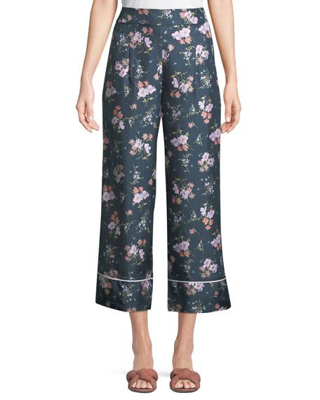 Rebecca Taylor Emilia Floral-Print Wide-Leg Pants