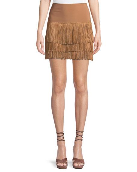 Norma Kamali Jersey Shorts w/ Fringe Layers