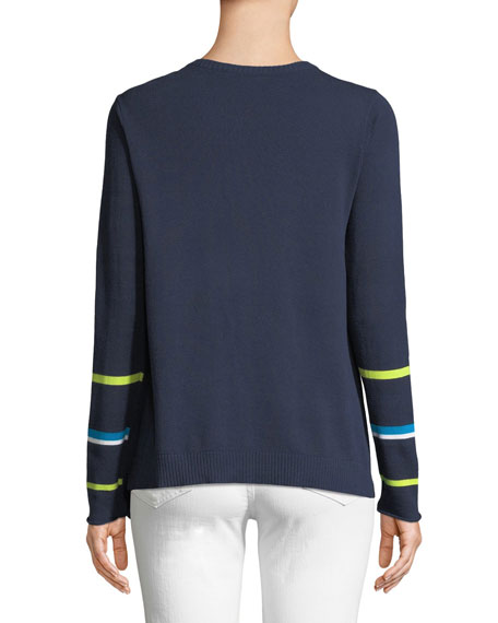 Butterfly Asymmetric Cotton Sweater, Petite