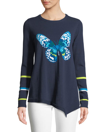 Butterfly Asymmetric Cotton Sweater, Petite