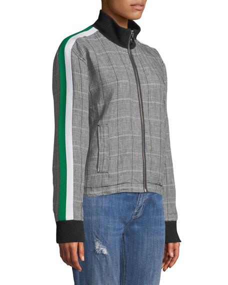 Dassen Plaid Side-Stripe Linen Bomber Jacket