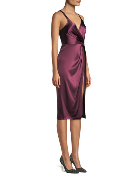 Neve Side-Twist Satin Cocktail Dress