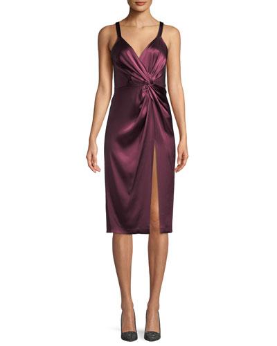 Neve Side-Twist Satin Cocktail Dress