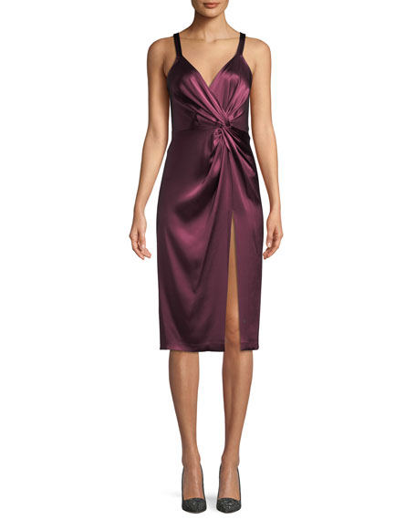 Jill Jill Stuart Neve Side-Twist Satin Cocktail Dress