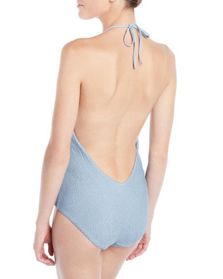 Nina Textured Halter One-Piece Swimsuit