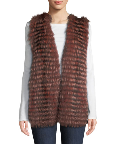 Luxury Cashmere Vest w/ Fox Fur Collar
