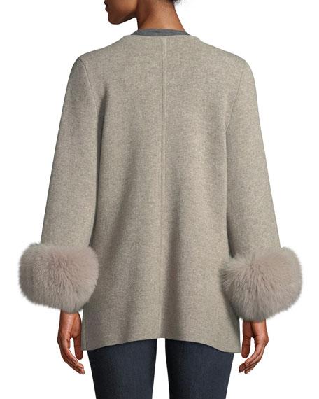 Luxury Double-Knit Cashmere Cardigan w/ Fox Fur Cuffs