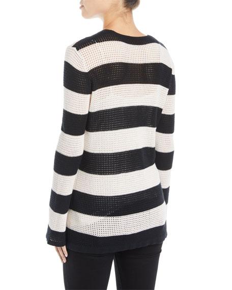 Striped Mesh Cotton/Linen Sweater