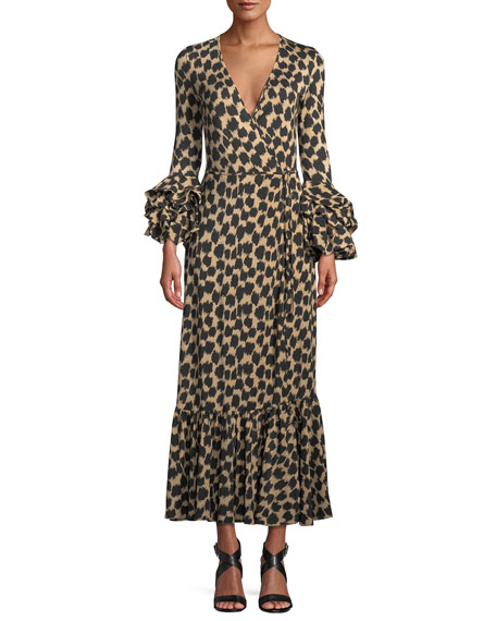 Diane von Furstenberg Printed Ruffle-Sleeve Silk Wrap Dress