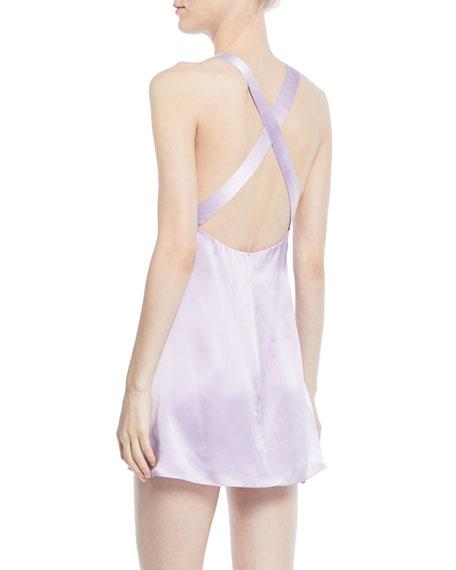 Fame and Partners The Ximena Silk Mini Slip Dress w/ Crisscross Back