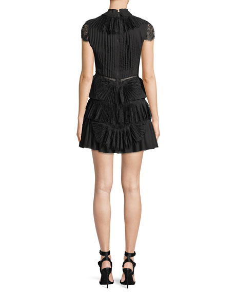 Rosetta High-Neck Cap-Sleeve Tiered Lace Cocktail Dress