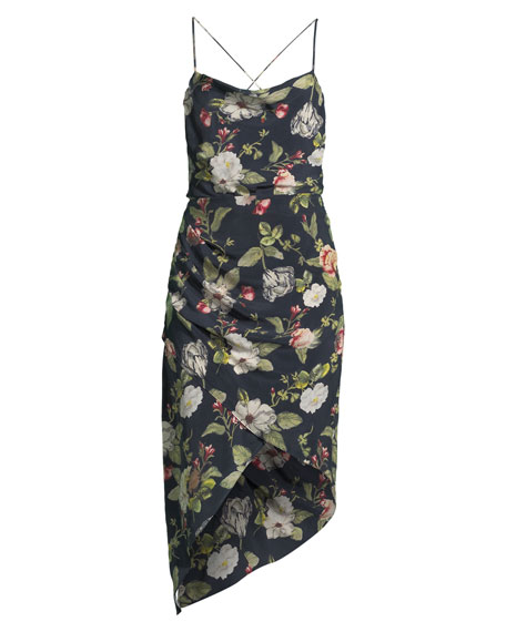 Reena Draped Floral Open-Back Dress