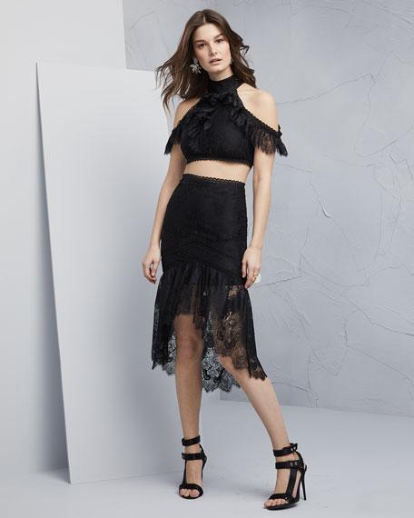 Regina Cold-Shoulder Lace Crop Top