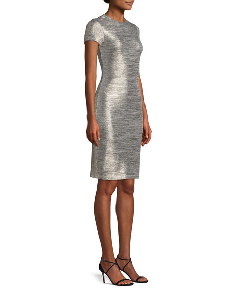 Delora Fitted Metallic Short-Sleeve Cocktail Dress