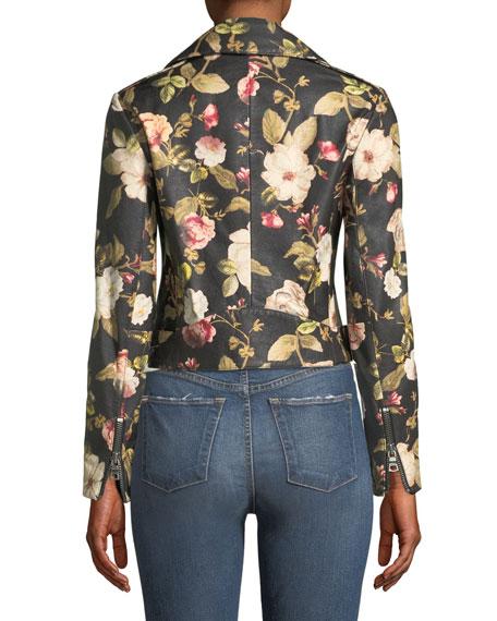 Cody Crop Floral-Print Leather Moto Jacket