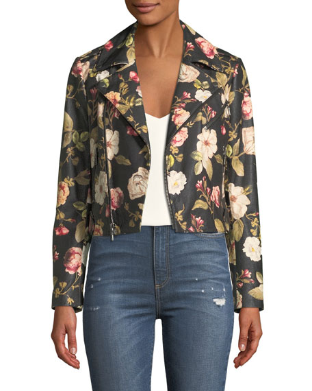 Alice + Olivia Cody Crop Floral-Print Leather Moto