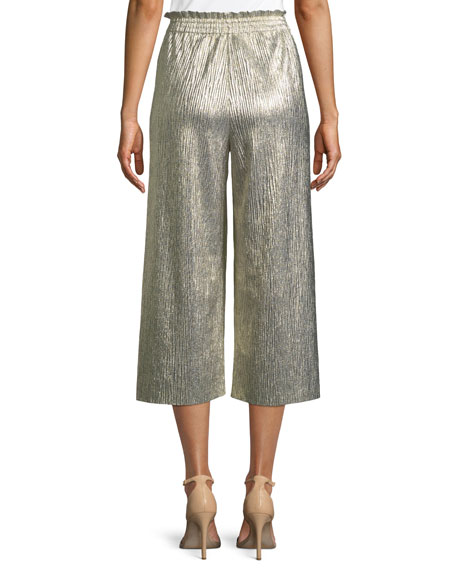 Elba Metallic Plisse Pull-On Cropped Wide-Leg Pants