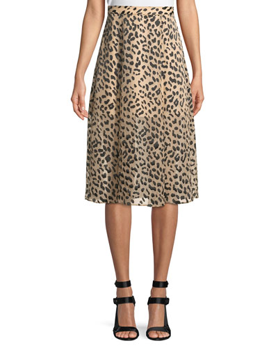 Athena Cheetah-Print Midi Skirt w/ Slits