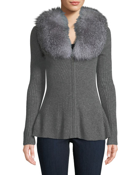 Neiman Marcus Cashmere Collection Luxury Cashmere Peplum Cardigan