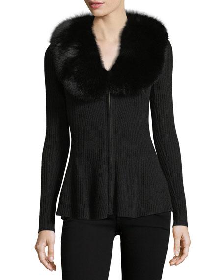 Neiman Marcus Cashmere Collection Luxury Cashmere Zip-Front