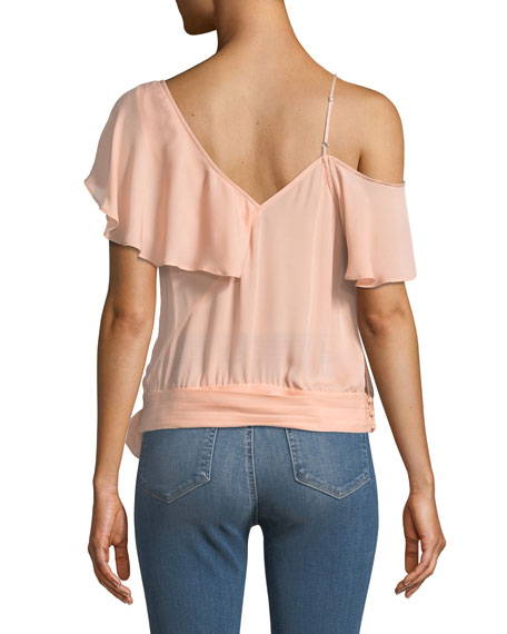 Image 2 of 3: PAIGE Chereen Ruffle One-Shoulder Silk Top