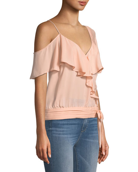 Image 3 of 3: PAIGE Chereen Ruffle One-Shoulder Silk Top