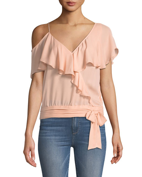 Image 1 of 3: PAIGE Chereen Ruffle One-Shoulder Silk Top