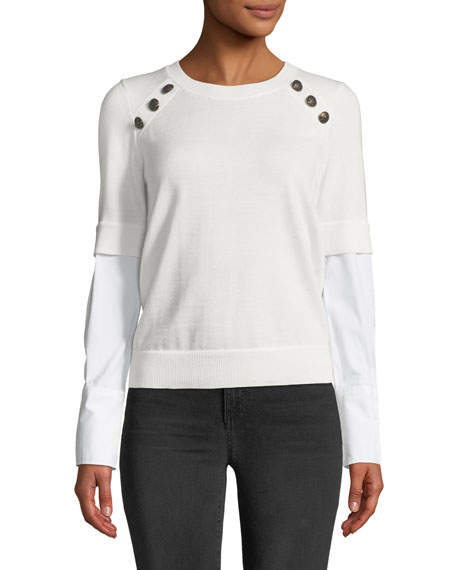 Roscoe Twofer Sweater with Button Detail