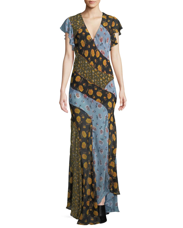 7b5e3ebc583 Veronica Beard Kemper Mixed Floral Silk Maxi Dress