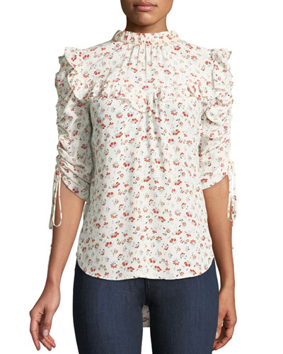Howell Floral-Print Silk Ruffle Top