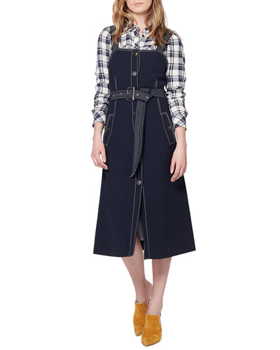 Adora Belted Button-Front Midi Dress