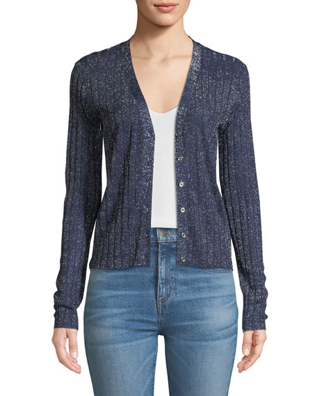 Toll Ribbed Metallic Cardigan