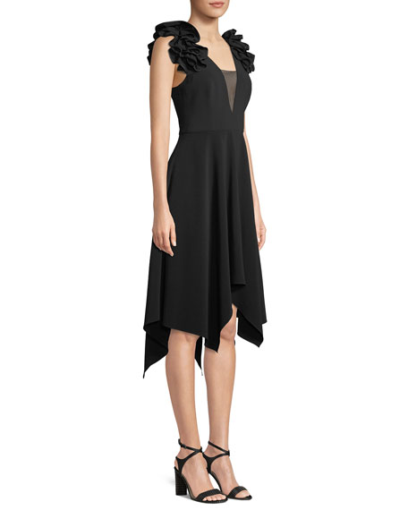 Halston Heritage Handkerchief Ruffle-Sleeve Dress