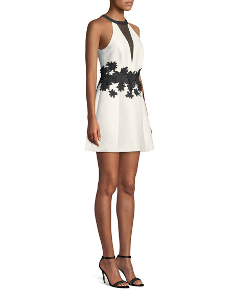 Halston Heritage Halter Mini Dress w/ Floral Embroidery