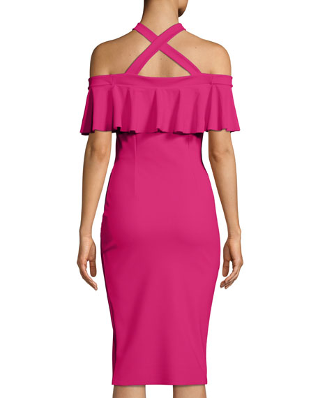 Norberta Crisscross Halter Ruffle Cocktail Dress