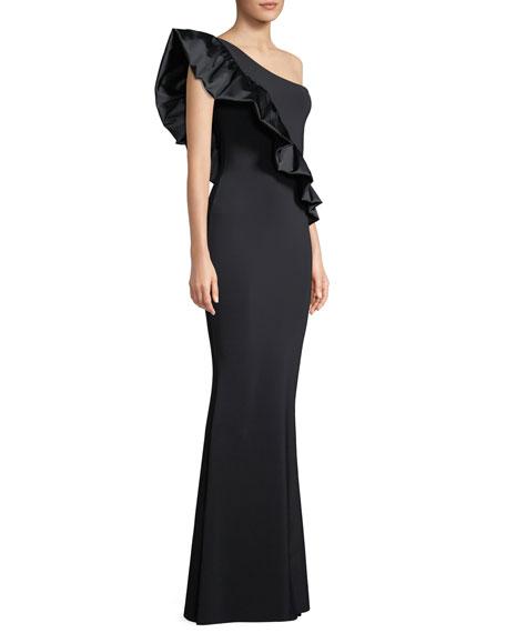 Chiara Boni La Petite Robe Marine One-Shoulder Satin-Ruffle Gown