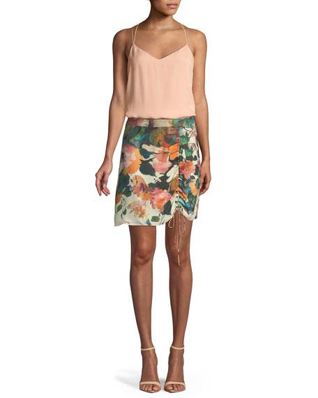 Spritzer Ruched Silk Floral Skirt