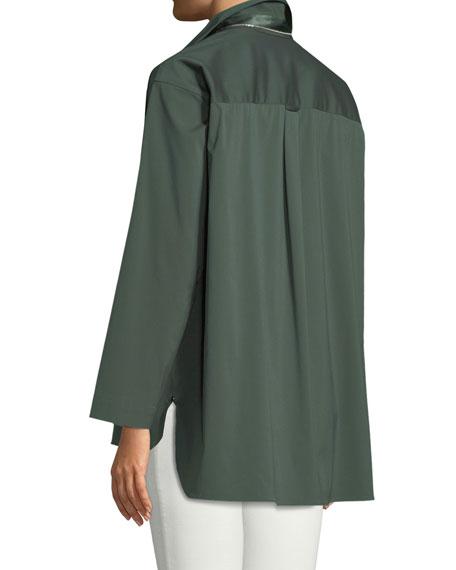 Beckett Italian Stretch-Cotton Blouse, Plus Size