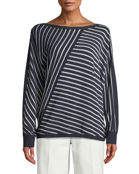 Matte Crepe Directional Striped Sweater, Plus Size