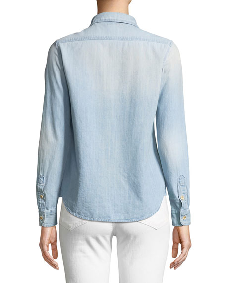 Foxy Embroidered Button-Down Top