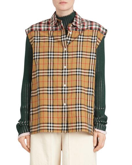 Hen Sleeveless Vintage Check Button-Front  Shirt