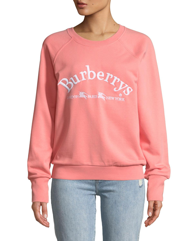 6066603e492 BurberryBattarni Oldschool Embroidered Logo Jersey Crewneck Sweatshirt