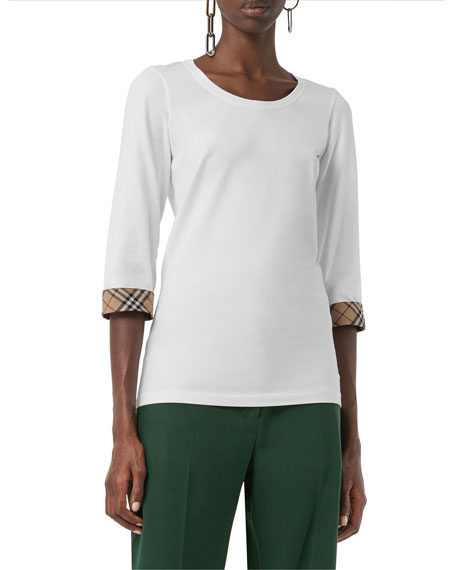 Burberry 3/4-Sleeve Check-Cuff Cotton Tee