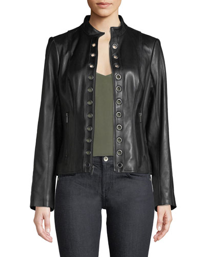 Grommet-Trim Lamb Leather Moto Jacket