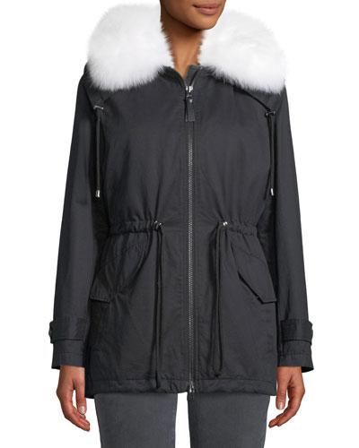 Oversized Parka Coat w/ Fur Trim