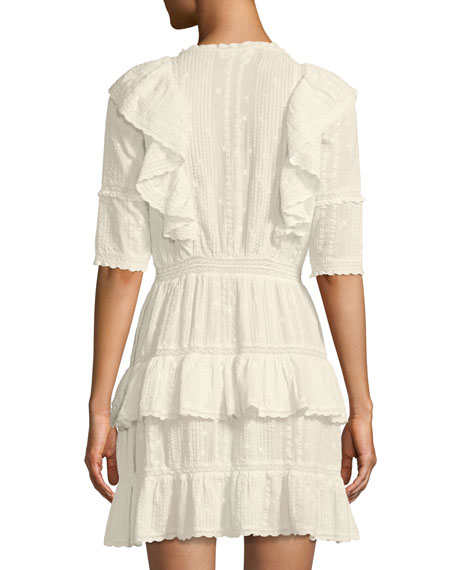 Lela Floral-Embroidered Ruffle Cotton Dress