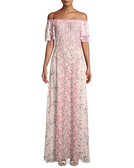 Loveshackfancy Evelyn Floral Silk Maxi Dress Coverup