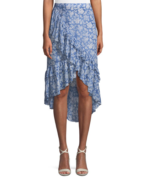 Liza Floral-Print Draped Ruffle High-Low Skirt